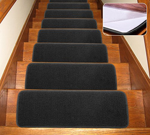 Seloom Rutschfeste Treppenmatten mit rutschfester Gummi-Unterseite, spezialisiert für Holztreppen im Innenbereich, abnehmbarer Bodenteppich für Treppen (schwarz, 13 Stück, 65,9 x 24,1 cm)