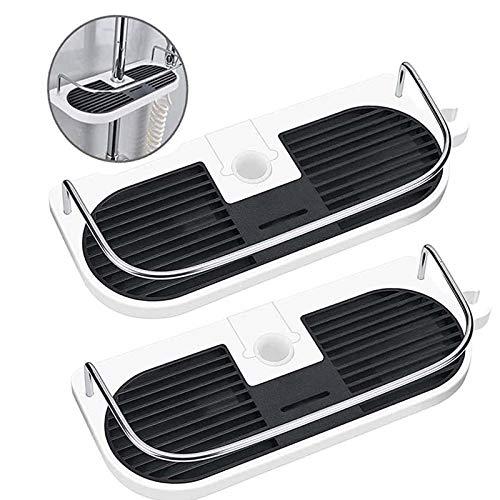 Wuudi - Mensola doccia in acciaio inox, ripiano per doccia, cestino per doccia, altezza regolabile, con diametro di 25 mm, cestino doccia per accessori da bagno (nero)