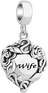 Q&Locket Heart Love Mom Wife Charms Rose Flower Beads for Bracelets