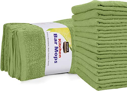 Utopia Towels Kitchen Bar Mops Towels, Pack of 12 Towels - 16 x 19 Inches, 100% Cotton Super Absorbent Sage Green Bar Towels, Multi-Purpose Cleaning Towels for Home and Kitchen Bars