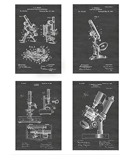 Vintage Microscope Wall Decor Collection: Set of Four Patent Print Art Posters: Choose From Multiple Size and Background Color Options