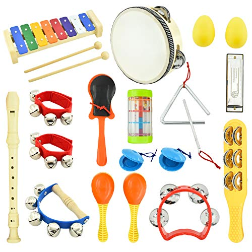 MUSICUBE Kids Musical Instrument Toys 14 Types 21 Pcs Musical Toys for Girls and Boys Educational Toys for Baby Toddler with Xylophone, Harmonica, Recorder Instrument and More (Storage Bag Included)