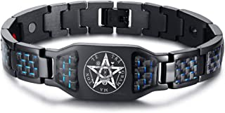 MPRAINBOW Adjustable Therapy Healing Magnetic Bracelet Stainless Steel Blue Crabon Fiber Bracelet