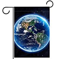 ウェルカムガーデンフラッグ(12x18in)両面垂直ヤード屋外装飾,地球