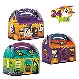 24 Pcs Cajas 3D Casa de Cartón para Dulces Golosinas de Halloween (15,2 x 15,2 x 8,9cm) Cajas para Truco o Trato, Galletas, Bolsas para Regalos