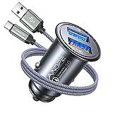 AINOPE Zigarettenanzünder USB Ladegerät, [Dual QC3.0 Port] 36W/6A Kfz Ladegerät, Metall Qualcomm...