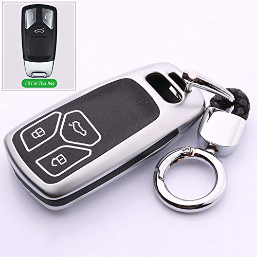 HanT Carcasa para llave de coche, aleación de zinc, carcasa para llave de coche de cuero luminoso, para Audi A4L A3 A4 A7 A8 A6 Tt Q7 Q3 Q5 S6 S3 S4 2017 A4 A6 A8 llavero de coche