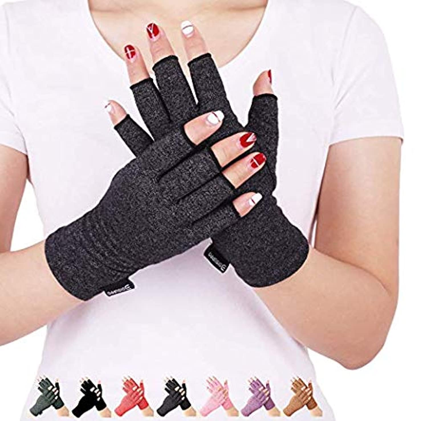 Arthritis Compression Gloves Relieve Pain from Rheumatoid, RSI,Carpal Tunnel, Hand Gloves Fingerless for Computer Typing and Dailywork, Support for Hands and Joints (Black, Large)