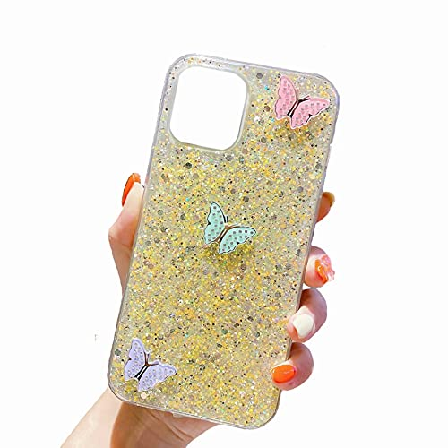 Miagon Cover Glitter per Samsung Galaxy A12 5G,Custodia Flessibile Silicone con Farfalla Design Morbido TPU Protettiva AntiGraffio Case