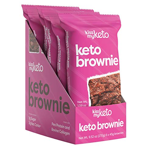Kiss My Keto Brownie –– Protein Based Brownies | Low Sugar, Low Carb (2g Net) Keto Desserts and Snacks | Gluten Free, Low Carb Snacks –– Made with Pea Protein & Collagen (6-Pack)