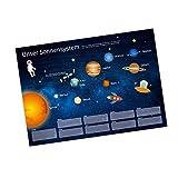 nikima - Kinder Lernposter Sonnensystem DEUTSCH Planeten Plakat für Kindergarten Schule Schulanfang Schuleintritt Einschulung Kinderzimmer Deko Wandbild Größe - DIN A3-420 x 297 mm