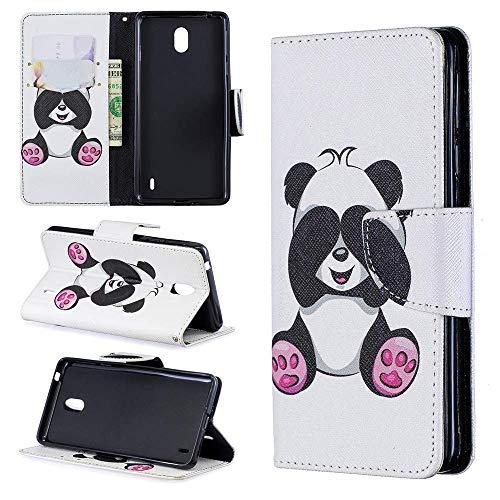 Luckyandery - Funda con tapa para Nokia 1 Plus 2019 (piel, tarjetero, función atril), diseño de libro con función atril y ranuras para tarjetas - Nokia 1 Plus 2019, Nokia 1 Plus 2019, color#5