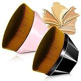 2 juegos de cepillo de base sin costura de alta densidad, pinceles de maquillaje BB Cream Pincel de base en polvo suelto, para mezclar líquido, crema, corrector Premium (Negro+Rosado)