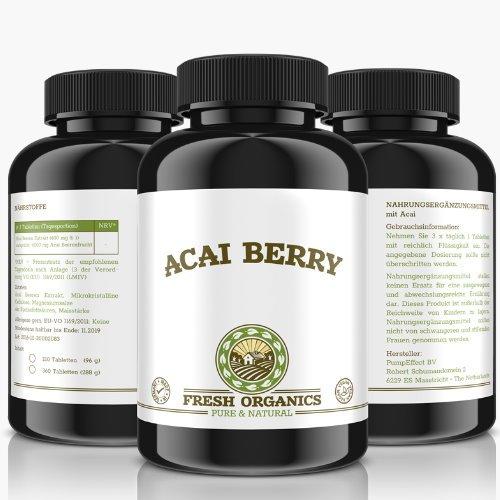Slim Acai Berry | 360 vegane Tabletten | 6000mg Tagesportion | Für 120 Tage | Reines Extrakt, Detox, Fettverbrennung, Gewichtsreduktion, Stoffwechsel-Diät, Entschlackung | Premium Qulität