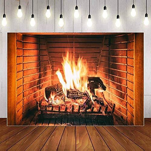 Fondo de fotografa Invierno Chimenea Madera Fuego Llama Exuberante Ladrillo Fiesta de Navidad Decoracin Teln de Fondo Estudio fotogrfico A16 9x6ft / 2.7x1.8m