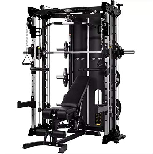 Commercial Home Gym - Smith Machine, Cables with Built in 160 kg Weights (Deluxe Black)