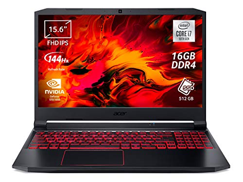 Acer Nitro 5 AN515-55-73P6 Notebook Gaming con Processore Intel Core i7-10750H, Ram 16 GB, 512 GB PCIe NVMe SSD, Display 15.6' FHD IPS 144 Hz LED LCD, NVIDIA GeForce GTX 1650 4 GB, Windows 10 Home