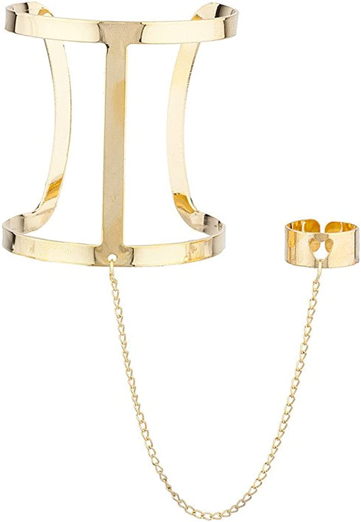 LUX ACCESSORIES Caged Cuff Hand Chain Link