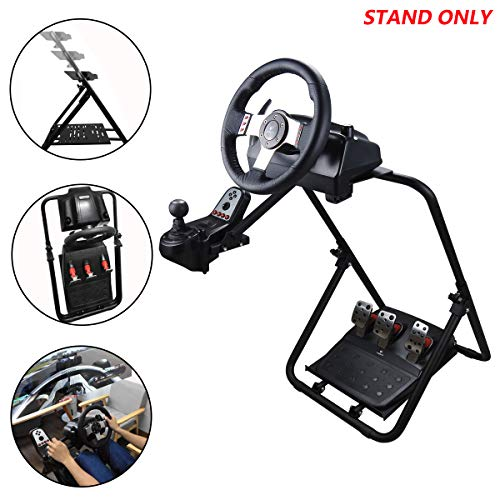 Eilsorrn Racing Wheel Stand Foldable & Height Adjustable for Racing Console Fitting for Most Logitech, Thrustmaster Gaming Steering Wheel, Xbox, Playstation, PC Platforms Wheel and Pedals NOT included