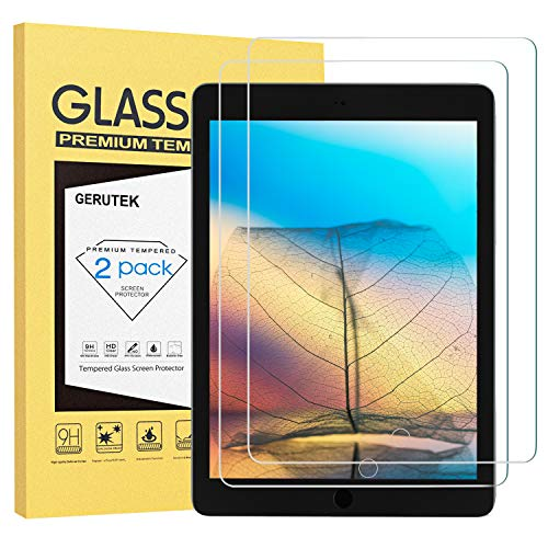 Gerutek [2 Pack] Screen Protector for iPad 9.7 inch 2018/2017, iPad Air1/iPad Air 2/iPad Pro 9.7' [Ultra Clear] [Anti Scratch] [Easy Install] Premium Tempered Glass Film for iPad 6th/5th Generation
