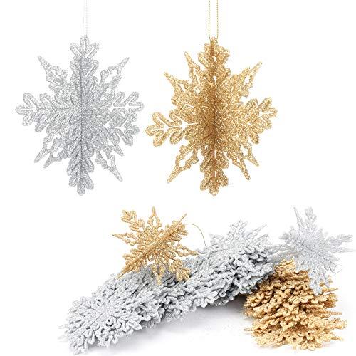 Aitsite 16 Stück 3D Glitzer Schneeflocke Ornamente, 4 Zoll Kunststoff hängendes Kunsthandwerk für Weihnachtshochzeitsfeier & Wohnaccessoires, (Gold + Silber)
