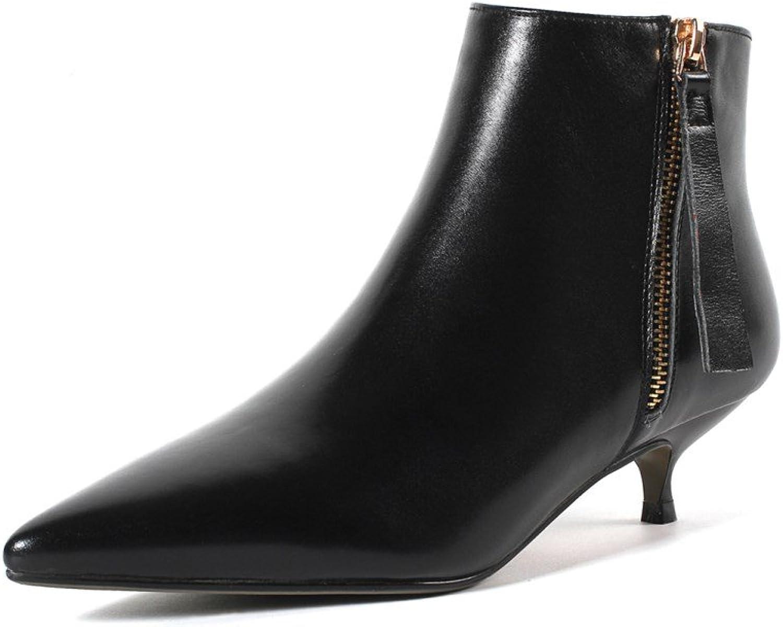 Nio Sju kvinnors slutna spetsiga tå, låg låg låg Stiletto Heel handgjord Booslips Side Zipper.  gratis frakt över hela världen