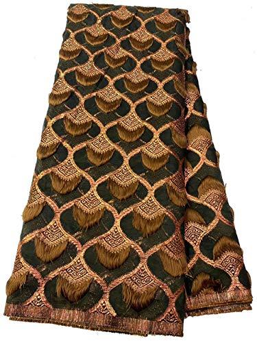 WOOAI Neueste afrikanische Spitze Design Brokat Spitzenstoffe 5 Yards/STK. Net Spitzenstoffe Organza Stoffe für Hochzeitskleid Material OFN020, China