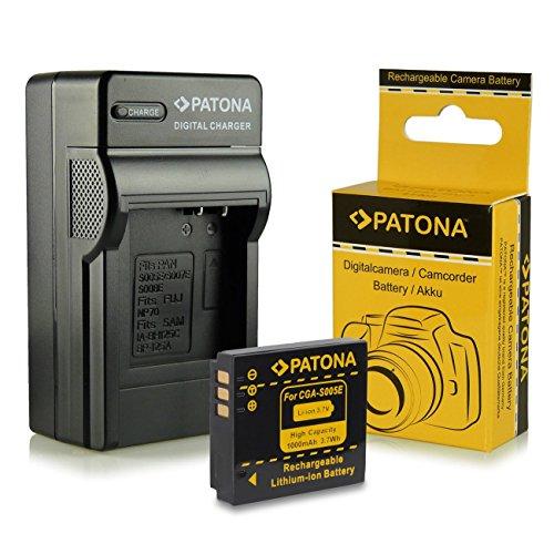 PATONA 3en1 Cargador + Batería compatible con Panasonic CGA-S005 | Fuji NP-70 | Leica BP-DC4 | Pentax D-Li106 | Ricoh DB-60 / DB-65