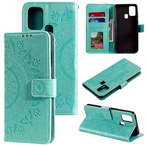 HTDELEC Coque pour Samsung Galaxy M31 Vert,Housse en Cuir Premium Flip Case Portefeuille Etui avec Stand Support et…