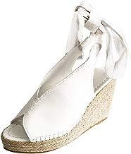 Zapatos Mujer Verano 2019 Sandalias de Cuña con Plataforma de Boca de Pescado Boca de v - Tejer Paja con Tacon Alto 7 cm - Talla 35-43 - Elegante Romanos Estilo para Playa Fiesta Boda