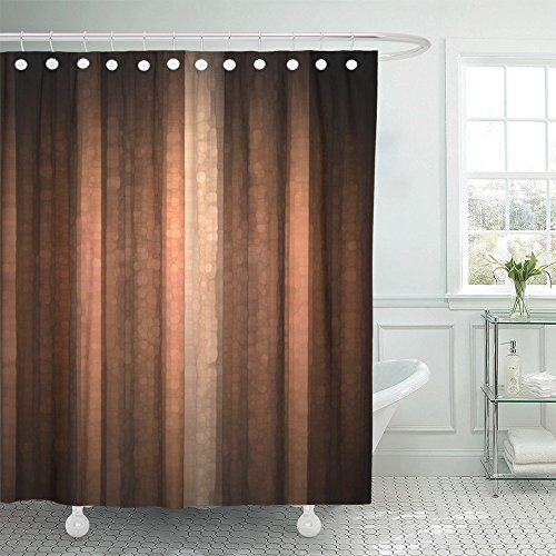 Emvency Shower Curtain Polyester 66x72 Inches Brown Earth Orange Copper and Pale Peach Abstract with Cool Glass and Vintage Stripe Design Pink Waterproof Adjustable Hook Bathroom