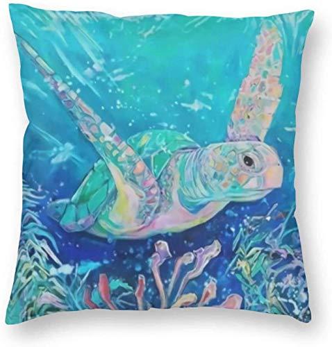 qidong Hermosa funda de almohada decorativa con estampado de tortuga del océano con estampado 3D, cuadrada, 45,7 x 45,7 cm, pilloase/sala de estar/coche/dormitorio
