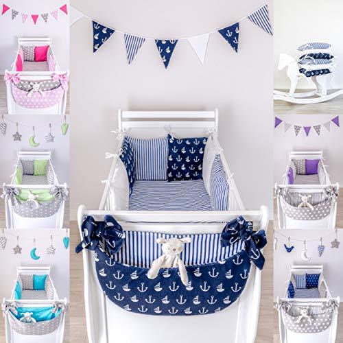 LOOLAY® 6 Tlg Baby Nestchen Bettumrandung 210cm Bettnestchen Kopfschutz Kantenschutz für Babybett (D10)