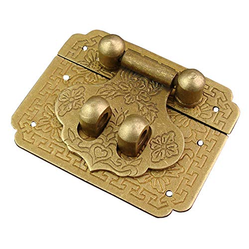 Antique Latch Box Hasps Lock Hook Bronze Buckle Vintage Drawer Clasp Decor Retro Screws Cabinet Wooden Jewelry Cosmetic Boxes Suitcase Retro Furniture Hardware Accessory 2'x1.6'
