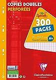 Clairefontaine 14711C - Estuche de 300 páginas (150 hojas) de copias dobles, rayado francés Séyès, Tamaño A4 (21x29,7cm), perforación doble hoja–color blanco