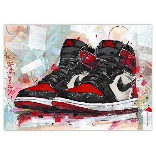 Nike Air Jordan 1 Retro High 'Bred Toe' Art Print (50 x 70 cm) *Sin marco.