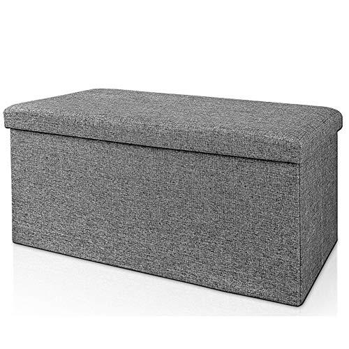 Deuba Faltbare Sitztruhe Sitzbank mit Stauraum 100 L Leinen Optik Grau 80x40x40 cm belastbar gepolstert Truhenbank Truhe