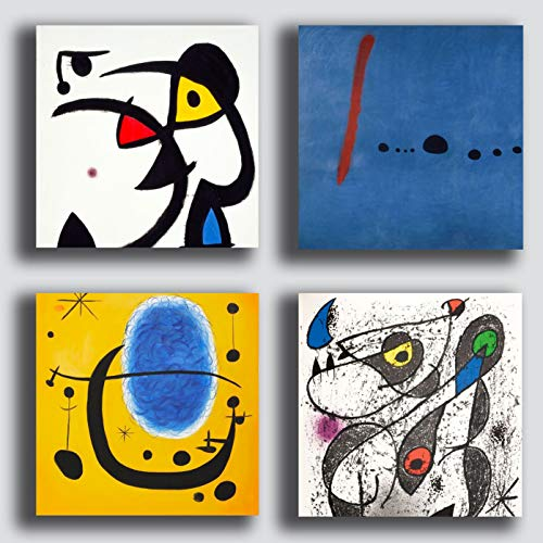 Printerland - Cuadros modernos estilo miro mirò 4 piezas 30 x 30 cm decoracion arte abstracto XXL decoracion para salon, dormitorio, cocina, oficina, bar, restaurante, madera, impresion sobre lienzo