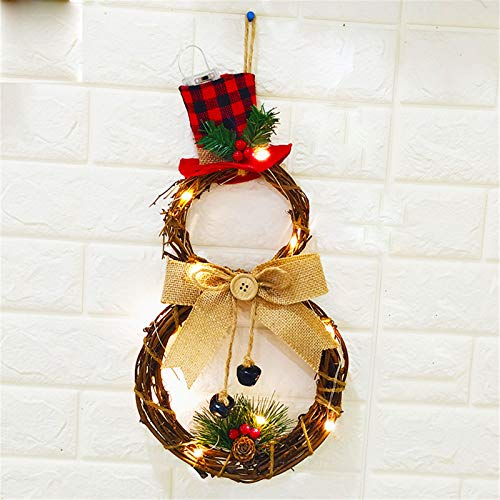 Ruxianc 16 x 8 Inch Lighted Christmas Wreath Decoration Christmas Decorations Grapevine Wreath with Hat and Bow Snowman Shape Wreath for Front Door Home Garden Wall Decor