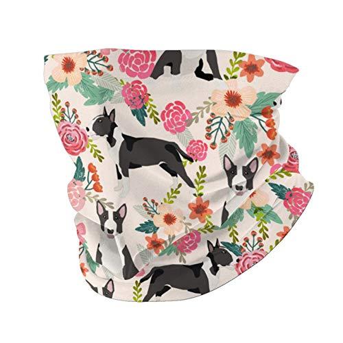 Ccycjasdkfewl Bull Terrier Floral – Lindos perros – Crema cara cubierta bufanda protección UV cuello pasamontañas variedad bufanda para mujeres hombres negro con bolsillo interior