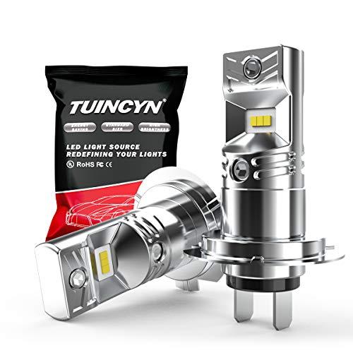 TUINCYN 1600Lm Extrêmement Lumineux H7 Ampoules antibrouillard LED 6500K Blanc Haute Puissance 80W CSP Chips DRL Daylight LED Ampoule DC 12V-24V (2-Pack)