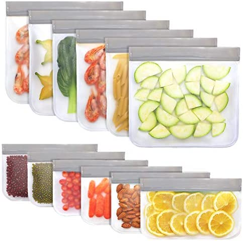 Jagrom 12 Pack BPA FREE Reusable Food Storage Bags 6 Sandwich Lunch Bags 6 Small Kids Snack product image