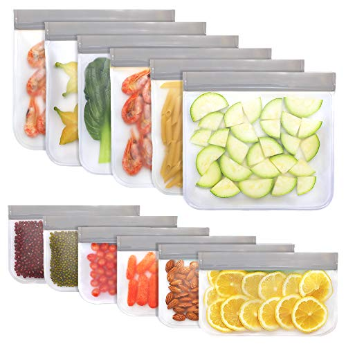 Jagrom 12 Pack BPA FREE Reusable Food Storage Bags 6 Sandwich Lunch Bags amp 6 Small Kids Snack Bags EXTRA THICK Leak Proof Flat Freezer Bags Kitchen Resealable Zipper Bags for Vegetables Meat Fruit