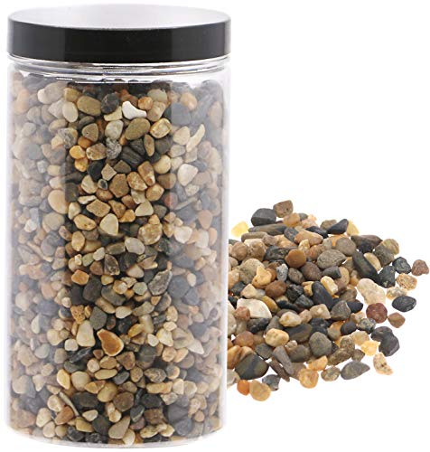 River Pebbles Mixed Color Stones Decorative Gravel Succulent Cactus Bonsai Rocks Planter Great Fairy Garden Accessories for Aquariums, Landscaping, Vase Fillers, Tillandsia, Terrarium Plants 2.2lb