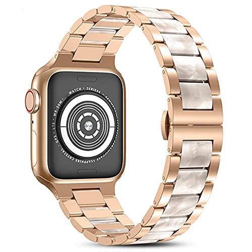 CHENPENG Harz Edelstahl Armbänder Kompatibel mit Apple Watch 1/2/3/4/5/6 Damen Herren Metall Link Armbänder Armband mit zentralem Harz Ersatz Armband,D,38MM
