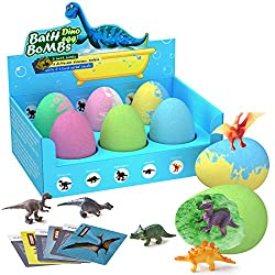 6. CAPKIT Educational Dinosaur Bath Bombs Set for Kids (6 pieces)