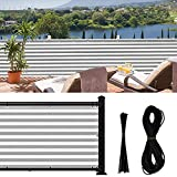 Jepeux 3x16.4Ft Balcony Privacy Screen, for Apartment Railing, Low Garden Fence, Deck Patio Etc. New-Stripes, with 30zip-Ties & 39.4ft Rope