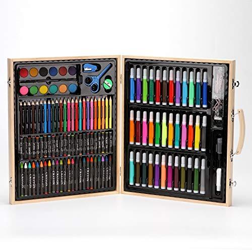 Fighrh Creativo de madera maciza de la caja de regalo 150 PC sets de Pintura Infantil herramienta Lápiz Pluma de la acuarela del estudiante de escuela primaria DIY Pluma de la acuarela Conjunto Los ni