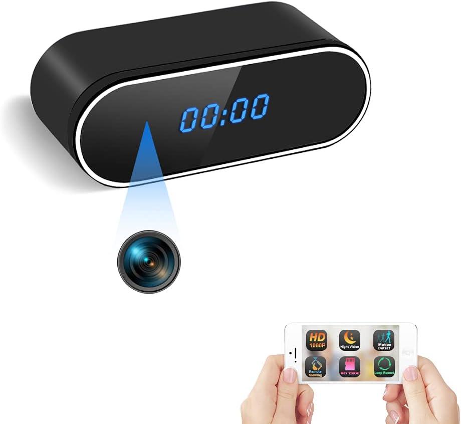 Cámara Espía Oculta WiFi Reloj Espía TANGMI 1080P HD Cámara de Niñera Inalámbrica Grabadora de Vídeo Detección de Movimiento Visión Nocturna Seguridad de Casa