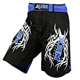 New MRX MMA Fight Shorts Stretch Penals Grappling UFC Cage Fighting Muay Thai Kickboxing Trunks (Black Blue, XLarge)